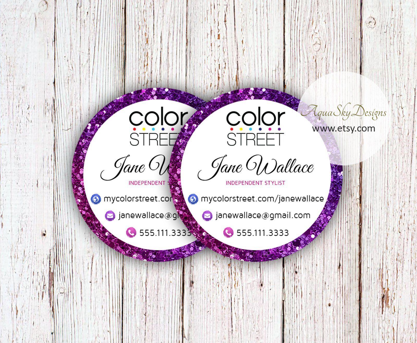 Color street stickers printable custom stickers template color street label color street consultant blue purple sticker labels