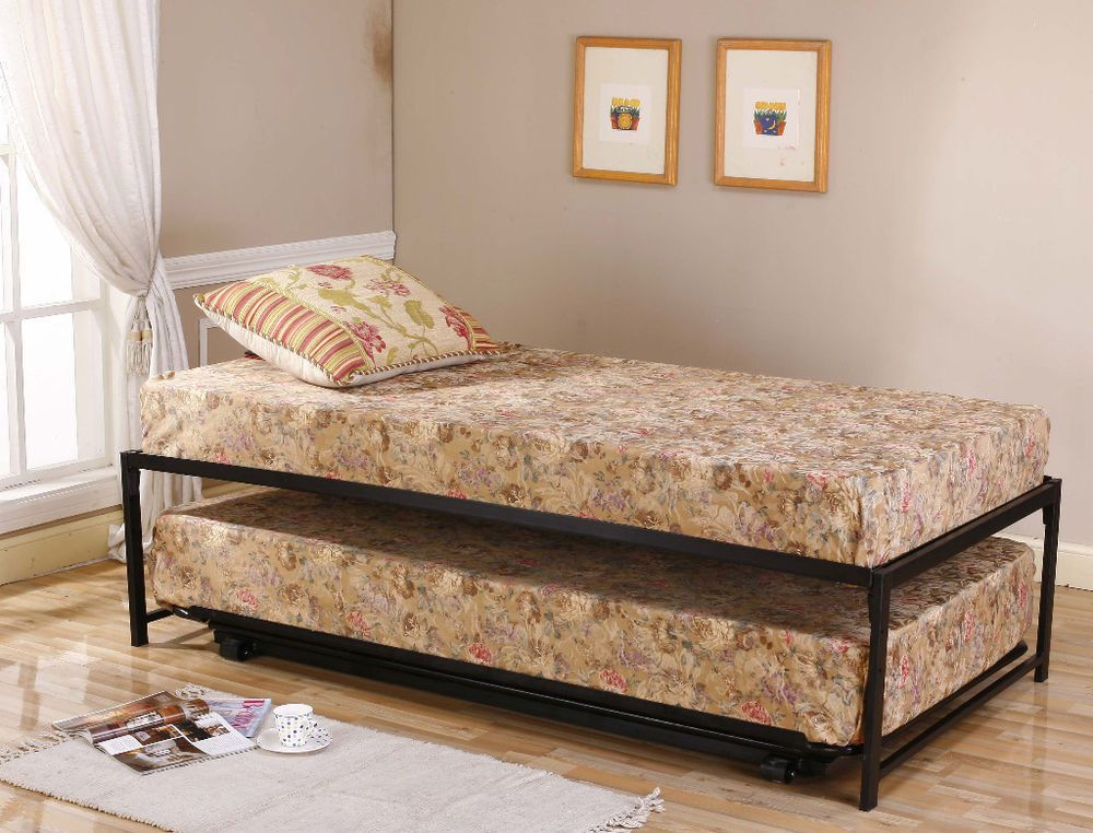 Black Metal Twin Size HiRise Day Bed (Daybed) Frame & Pop