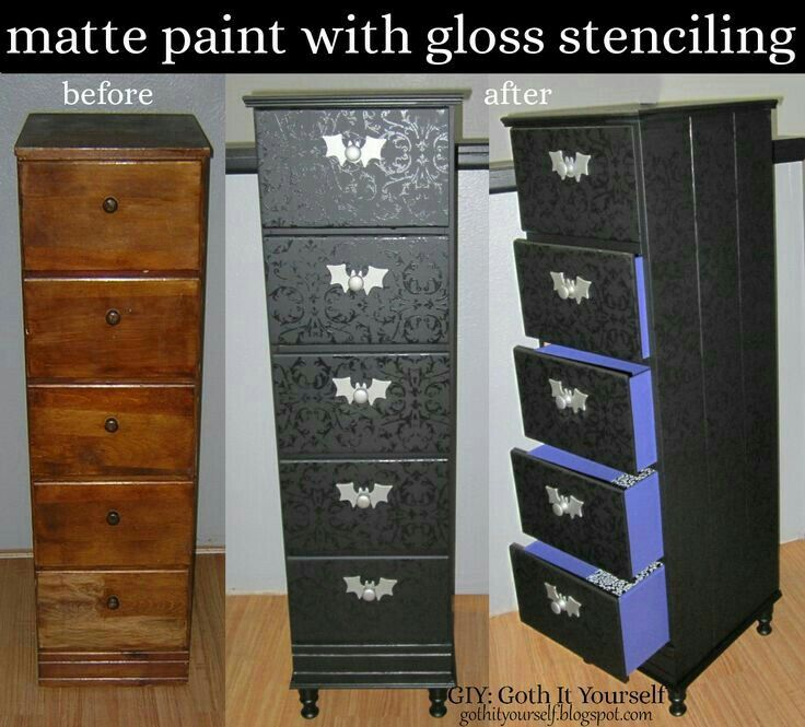 Giy Goth It Yourself Black Matte With Gloss Stenciling On Chest Of Drawers I D Really Like To Get A Tall Jewelry This Redo My Taste And