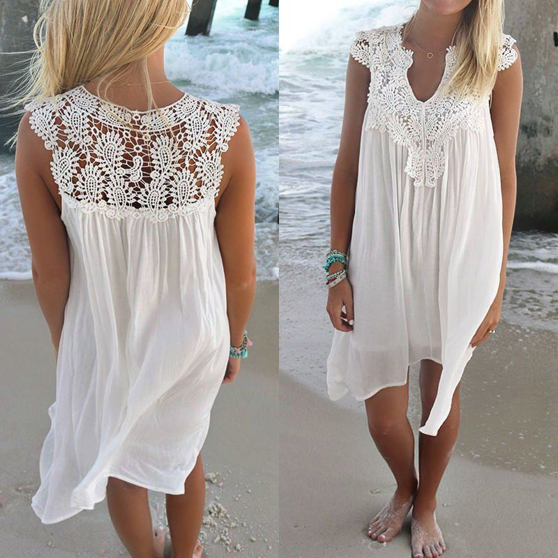 e03f045bf71 Women Summer Loose Short Sleeve Beach Mini Dress Casual Loose Sundress Plus  Size