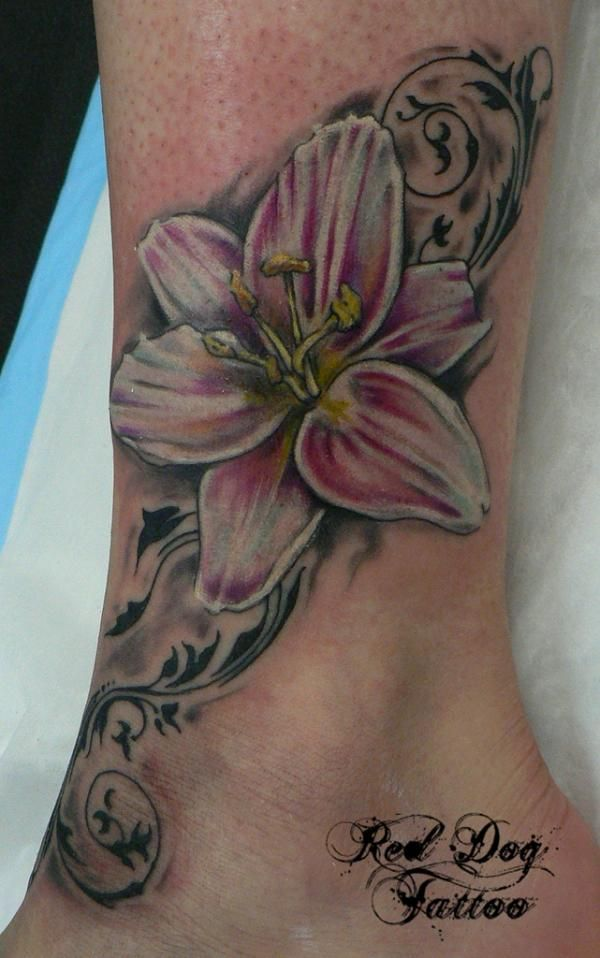096db07425829 55+ Awesome Lily Tattoo Designs   Tattoo   Ankle tattoos for women ...