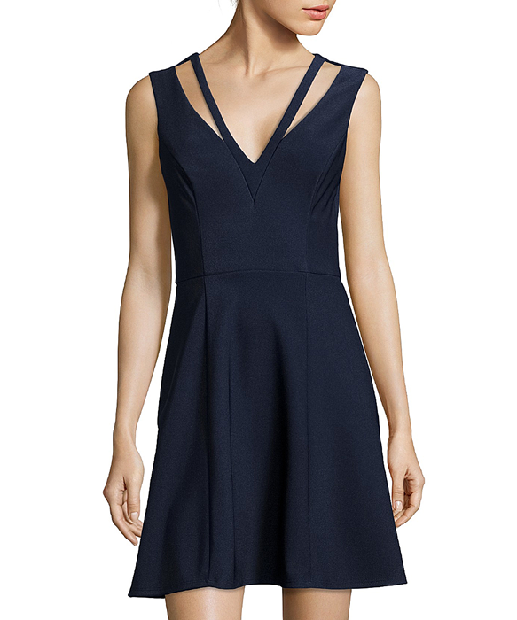 metallic navy stretch cutout low-cut v-neck fit-and-flare dress