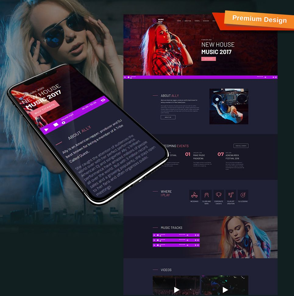MusicAlly - DJ Premium Moto CMS 3 Template | Responsive Website ...