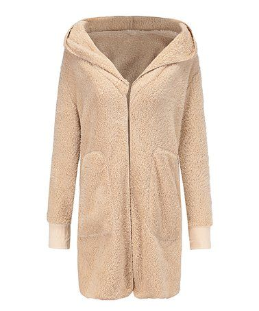 f46cadce1938 Look what I found on  zulily! Apricot Hooded Fuzzy Coat - Women ...