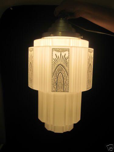 Vintage Art Deco Empire Skyscraper Shade Chandelier Hanging Light Fixture | eBay