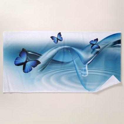 #modern - #Blue Butterflies Beach Towel