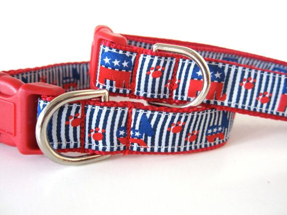 Republican Elephant Dog Collar In Red White By Watsonandlucille 22 00 Republican Elephant Animal Projects Dog Collar