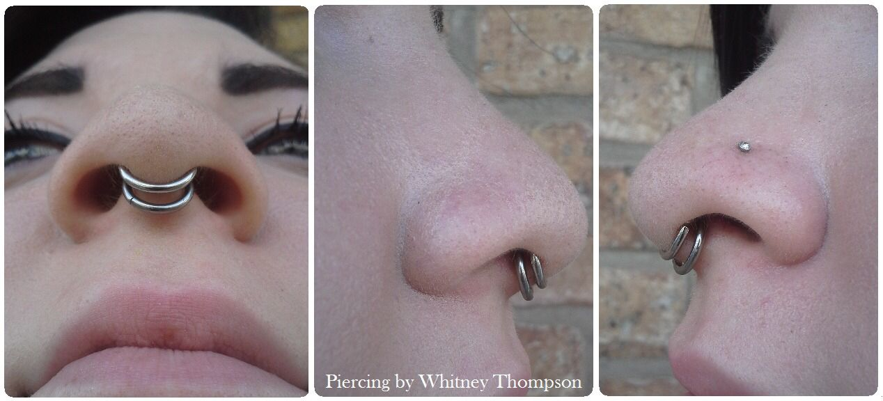 Double Nose Piercing and Septum | Nostril and double septum | Piercings | Pinterest #doublenosepiercing