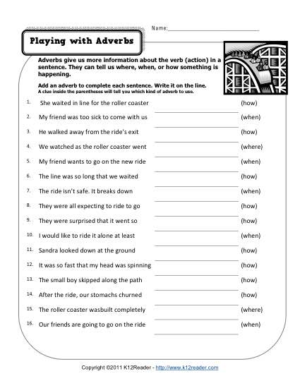 Playing With Adverbs in 2020 Adverbs worksheet, Grammar
