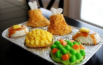 Chicken TV Dinner Cupcakes! Awesomely cute!