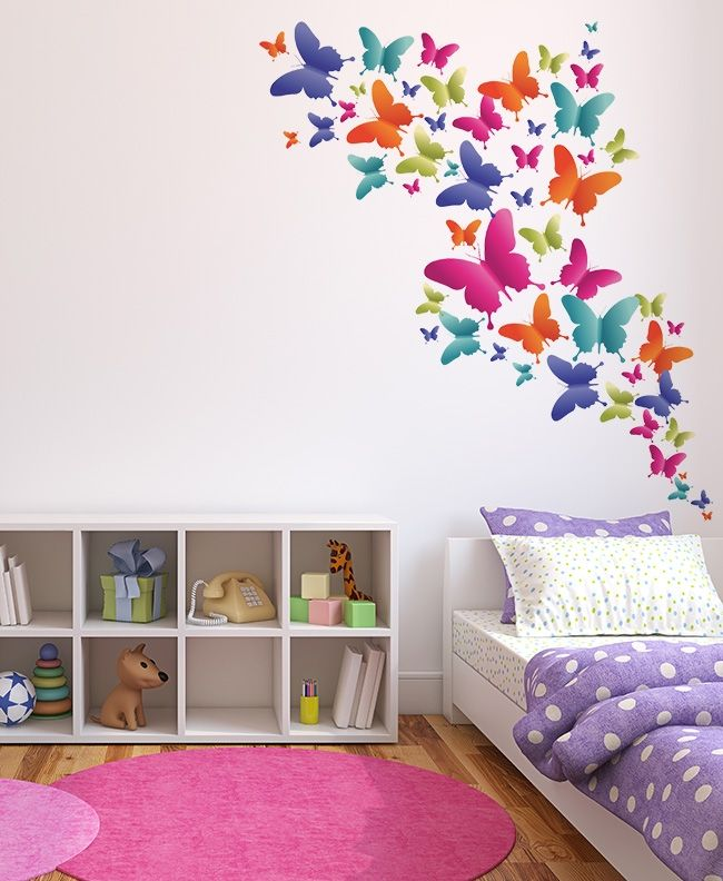 Bandada de mariposas space to print stickers for Stickers habitacion nina