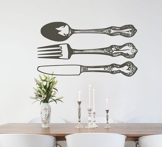 Flatware Set Spoon Fork And Knife Huge Vinyl Wall Decals For - Vinyl decals for kitchen walls