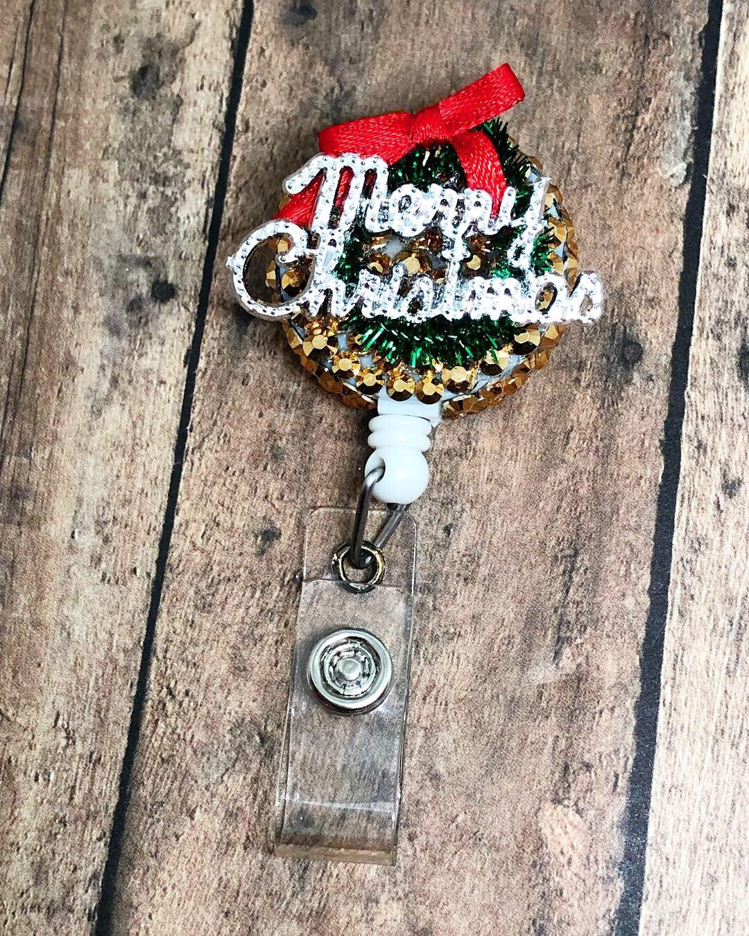 Christmas wreath badge holder