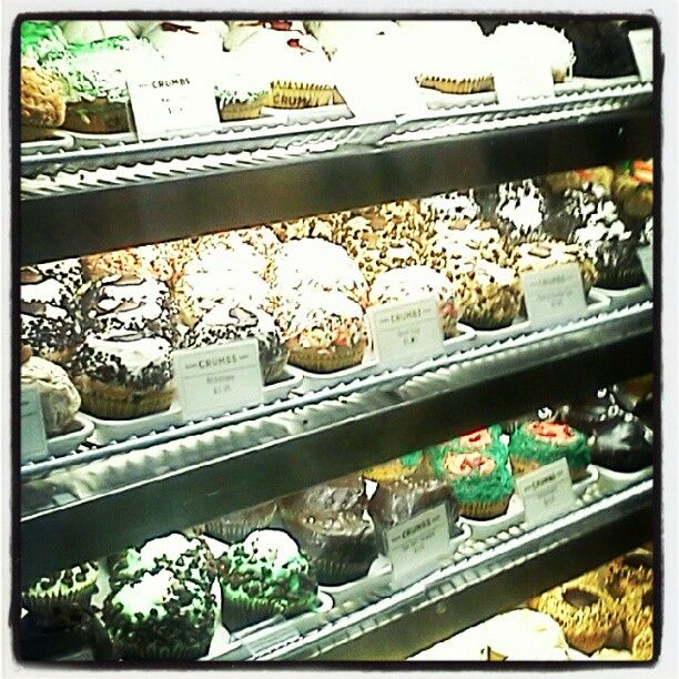 """The smell of the cupcakes hit you pretty hard when you walk through the door of """"Crumbs"""""""