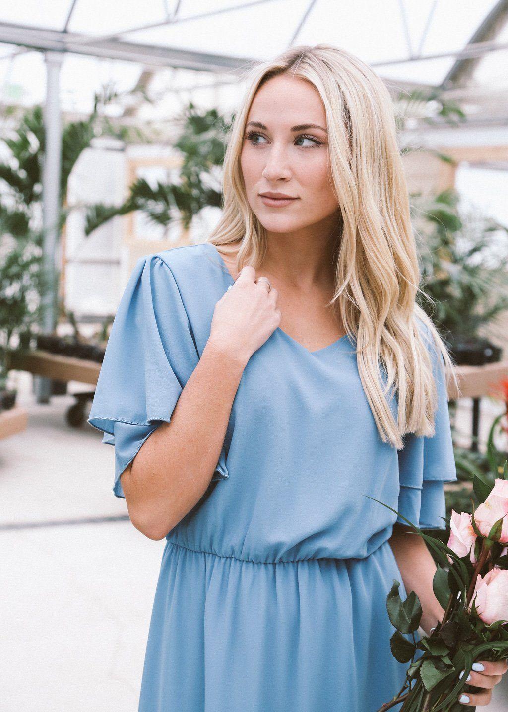 Frances Chiffon Dress in French Blue
