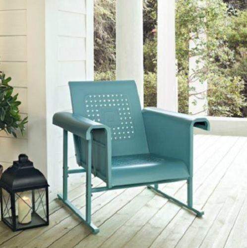blue outdoor metal retro vintage style glider chair patio garden furniture - Garden Furniture Gliders