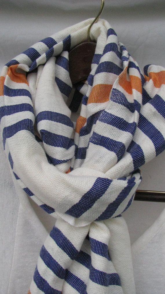 4539685b8747 Cotton Scarf- Men Women Orange and White Scarf- Monaco Blue, Orange and  white Ethiopian Handwoven Scarf- Blue Orange White Echarpe- BRONCOS