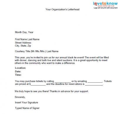 Special Event Promotion Letter  Fundraising Ideas