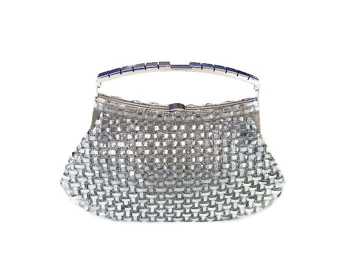 Milch Handbag, Made in Italy, Silver Lame, Woven Basket Weave, Silver Metal, Modernist Space Age, Mid Century Mod, Vintage Fashion