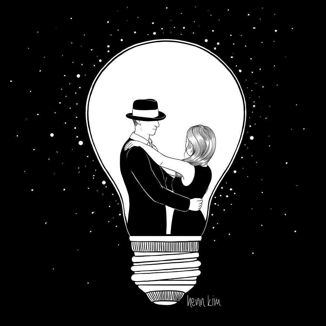We light up the dark love couple lightbulb light
