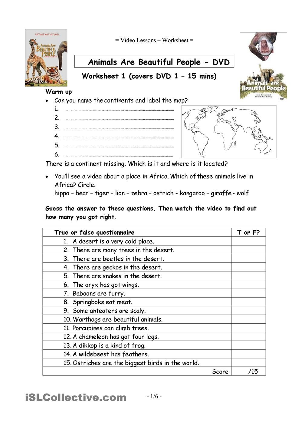 6 Video Worksheets Animals are beautiful people – Video Worksheets