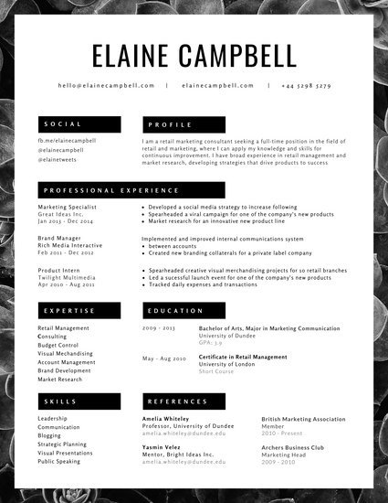 Black and White Photo Minimalist Resume Templates by