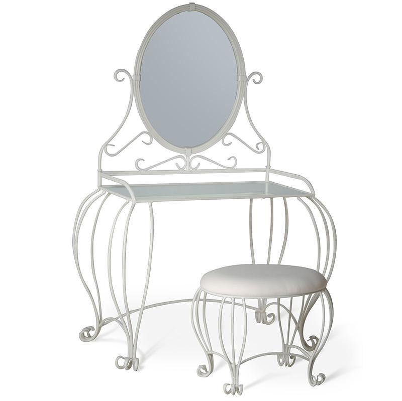 Vanity table w mirror and stool vanity tables vanities and stools 635 overall height 29 34 table height 46 table width 28 watchthetrailerfo