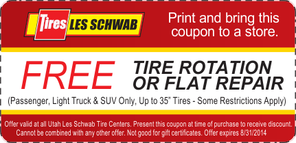 Tire Rotation Coupon >> Les Schwab Free Tire Rotation Coupon August 2014 Car Service And