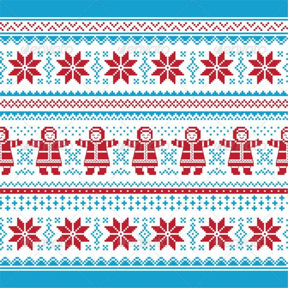 GraphicRiver Christmas Vector Card Traditional Seamless Knit ...