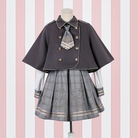 Braun / Grau Vintage Bear Grid Lolita Kleid / Poncho SP1710738 - #braun #kleid #lolita #poncho #sp1710738 - #braun #kleid #lolita #poncho #sp1710738 #vintage #ponchodress