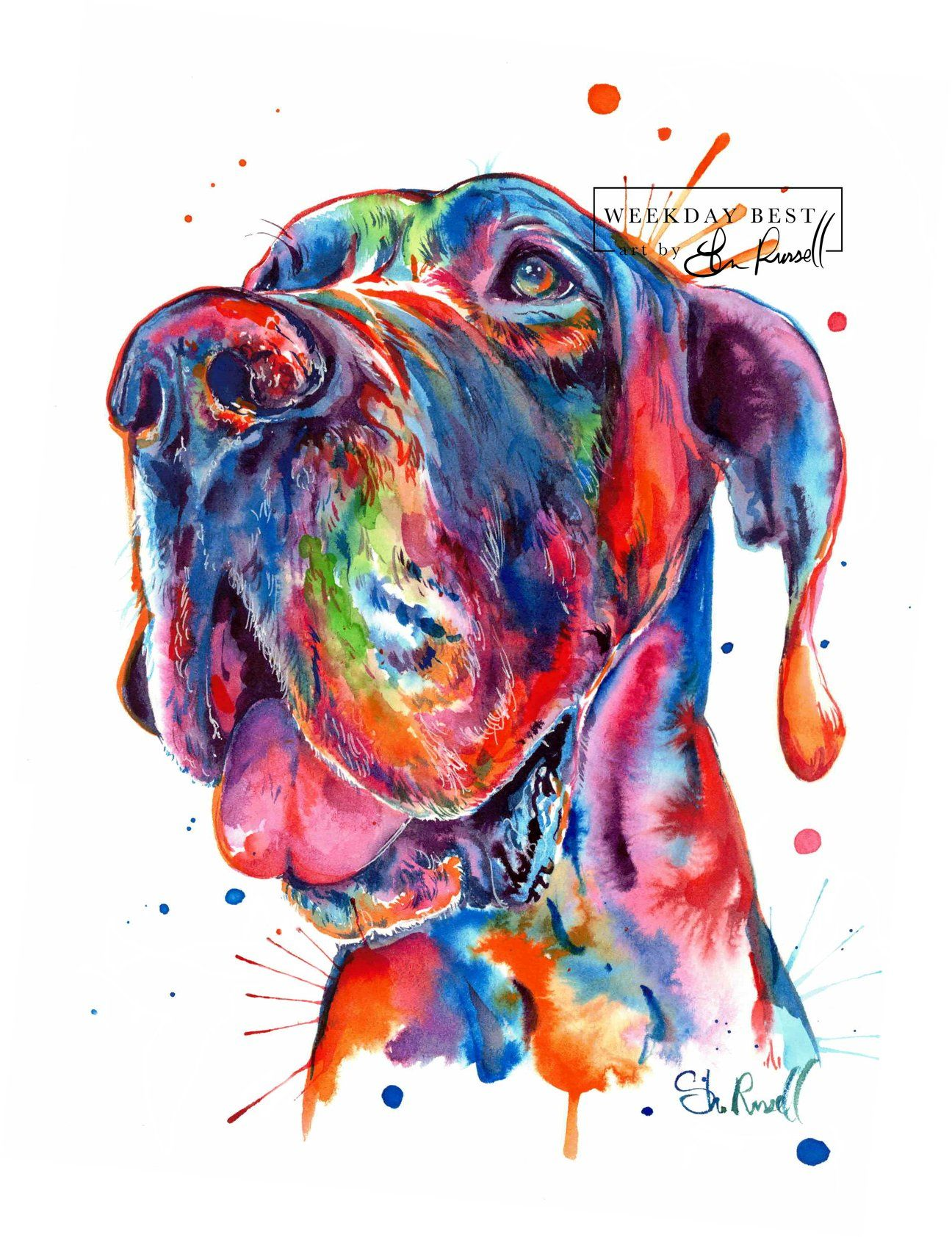Great Dane Watercolor Print Dog Artwork Dog Art Dane Dog
