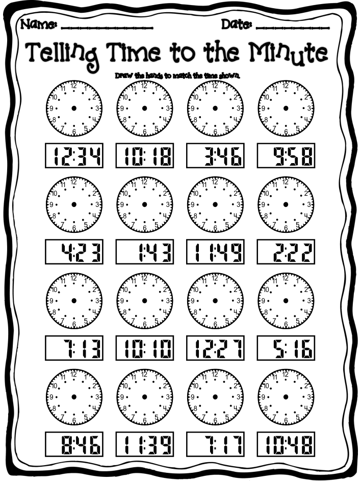 Telling time to the minute posterspdf – Telling Time Worksheets for 2nd Grade