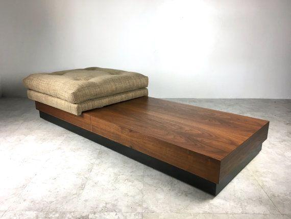 Vintage Adrian Pearsall Walnut Low Platform Bench Seating Mid Century Modern Minimal Furniture Mod Furniture Pearsall