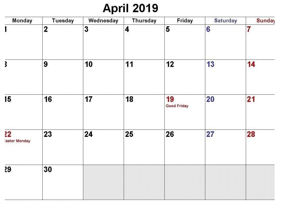 April 2019 Holidays Calendar Printable Templates Holiday