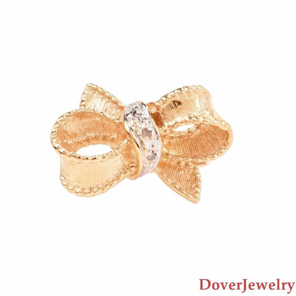 Estate diamond k gold bow ring nr