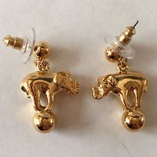Gold plated dangling earrings with elephant on the ball with push back... Lot 70