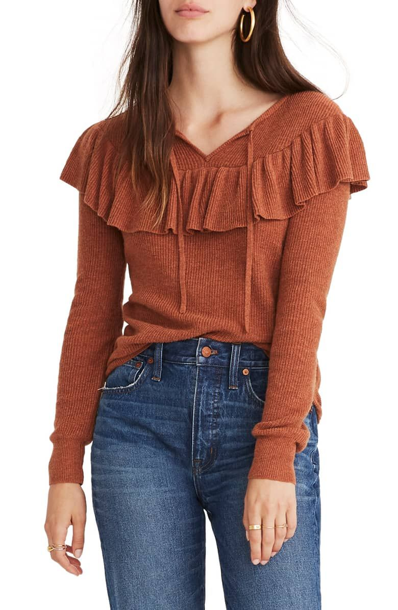 54a930327a22 Ruffled Tie Front Pullover Sweater