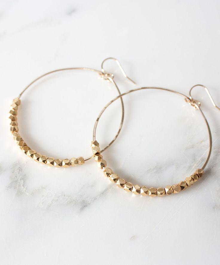 Photo of Gwen Hoop Earrings | Gold Beaded