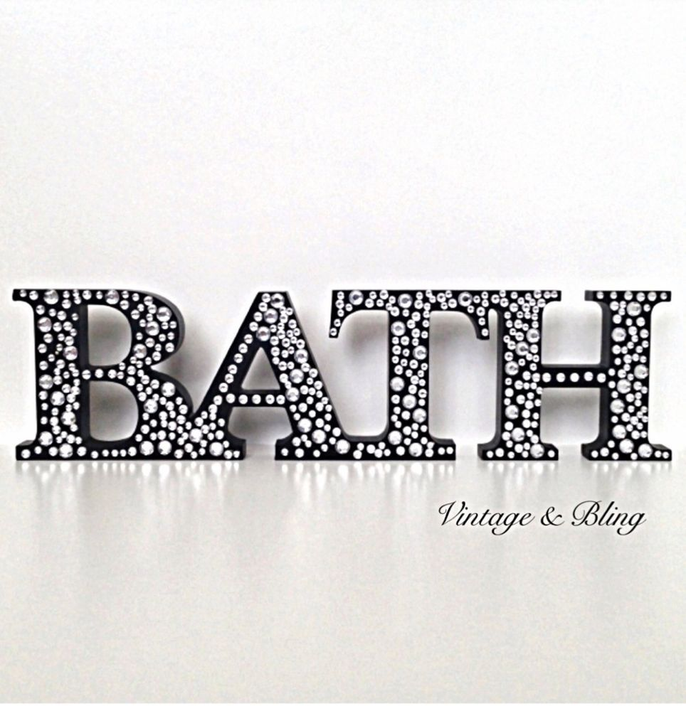 Diamante Sparkle BATH Bathroom Black Wooden Word Ornament New   Next Day  Post. Diamante Sparkle BATH Bathroom Black Wooden Word Ornament New