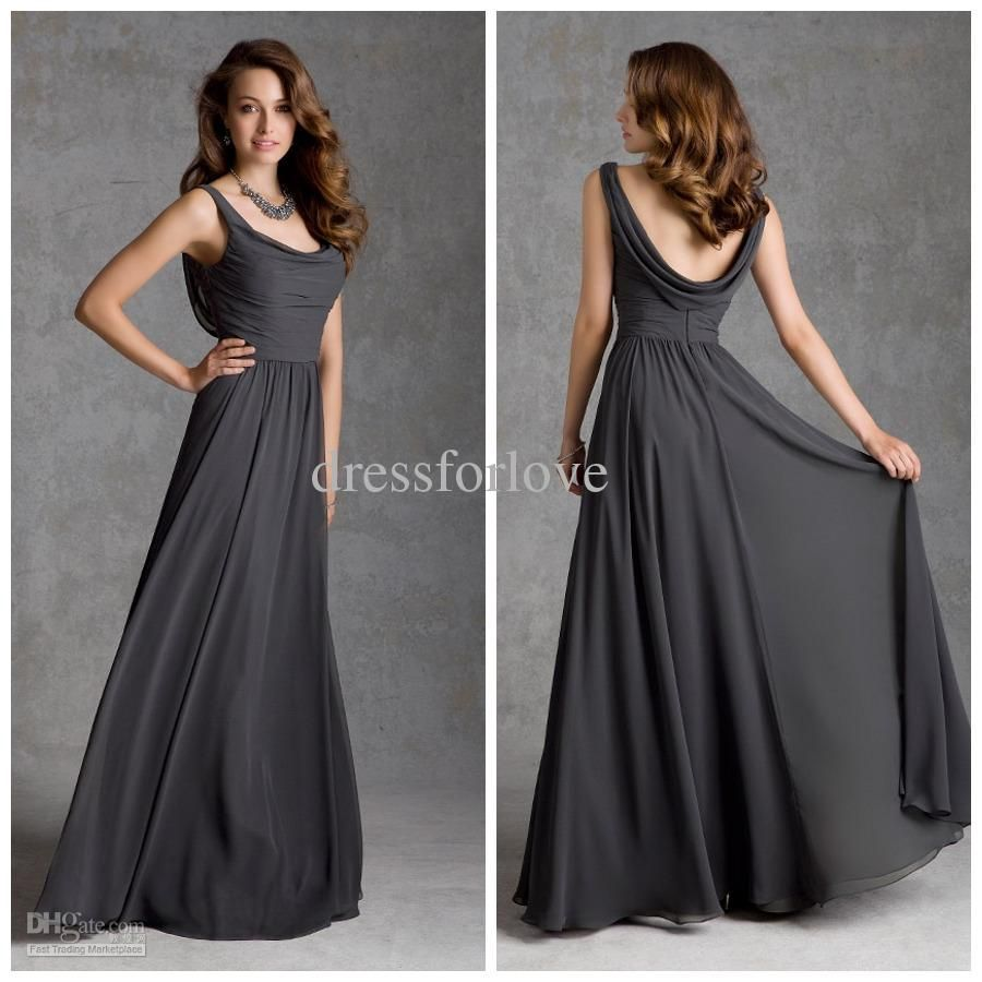 Wholesale bridesmaid dress buy simple ruffle neckline chiffon wholesale bridesmaid dress buy simple ruffle neckline chiffon long ladys formal dresses dark gray bridesmaid ombrellifo Choice Image