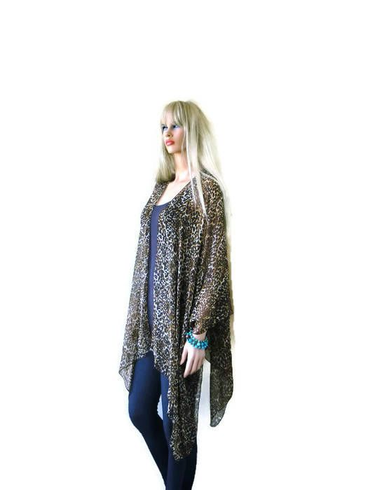 Pretty Leopard/cheetah Kimono Cardigan-Brown-Beige Sheer | Carol ...
