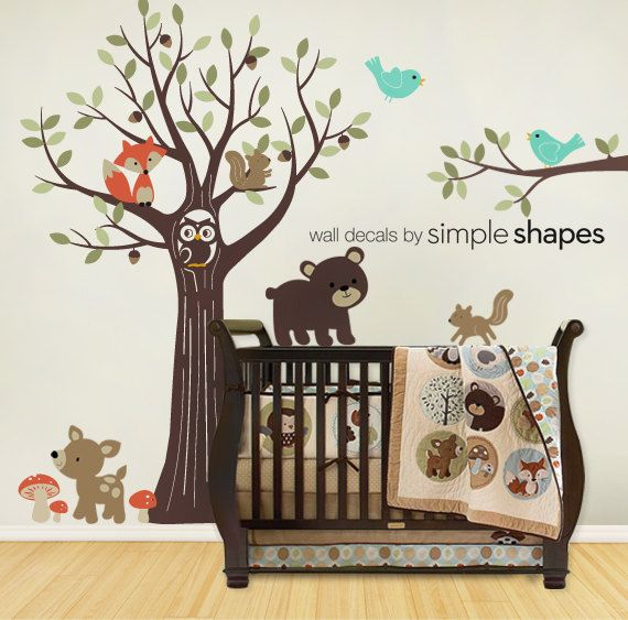 Wall Decals Nursery Tree With Forest Friend Kids