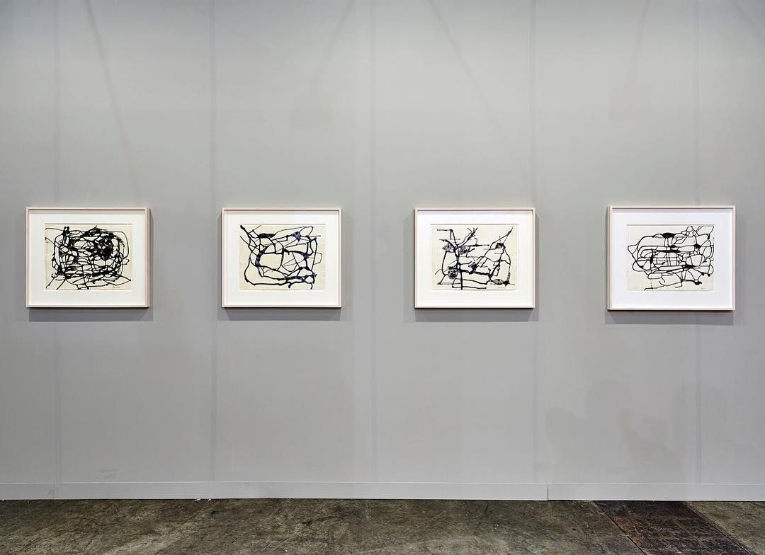 'Zhīzhū / Spider' our booth at @ArtBasel #HongKong features these works by #davidsmith.  Painting and especially drawing remained an integral element of David Smiths practice throughout his career. In an unusual series of egg-ink drawings from the early-1950s Smith invokes the intricate beauty and dexterity of the spider #web through a mass of sprawling intuitive black lines.  Find us at booth 1D13 through 26 March 2016.  Photo: Jason Joseph Bonello  #artfair #booth1d13 #artbaselhongkong…