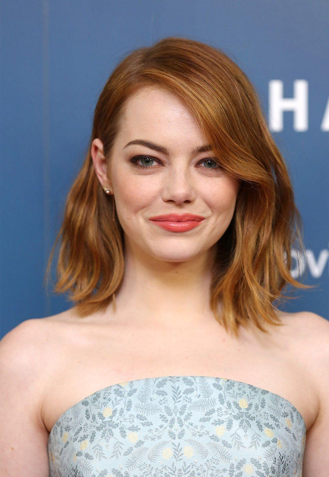 Ein Rundes Gesicht Schmaler Stylen Emma Stone Frisuren Rundes Gesicht Haarschonheit