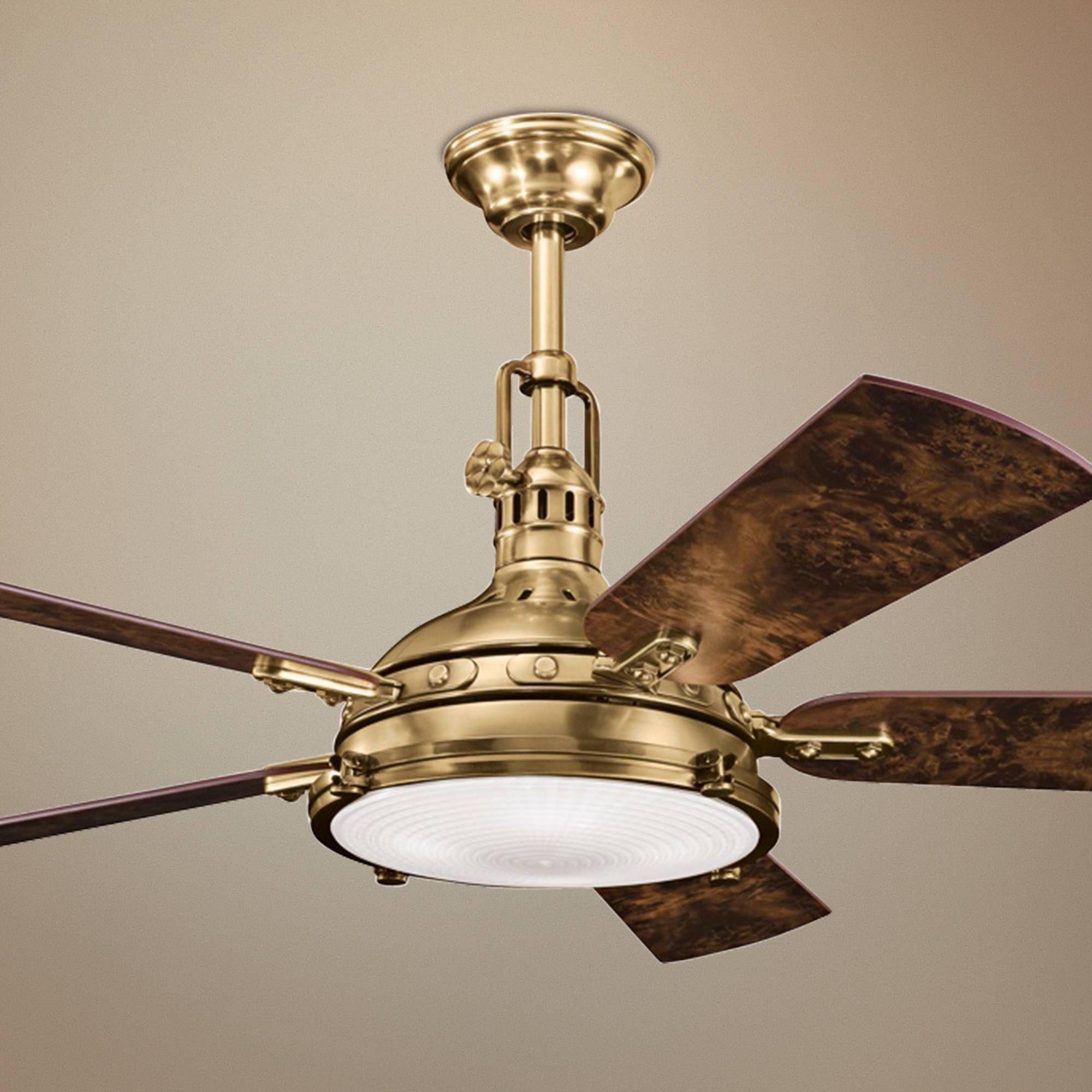 "56"" Kichler Hatteras Bay Burnished Antique Brass Ceiling Fan"