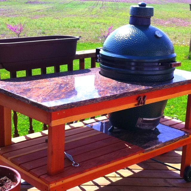 Kamado Joe Outdoor Kitchen: Parents New, Handmade Big Green Egg Grill Stand And Prep