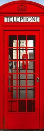 LONDON PHONE BOOTH - DOOR SIZE POSTER - 21X62 TELEPHONE 18589