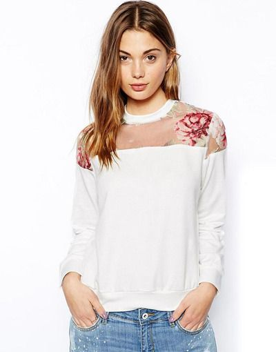 Floral Printed Pullover Organza Hollow Shoulder Sweater