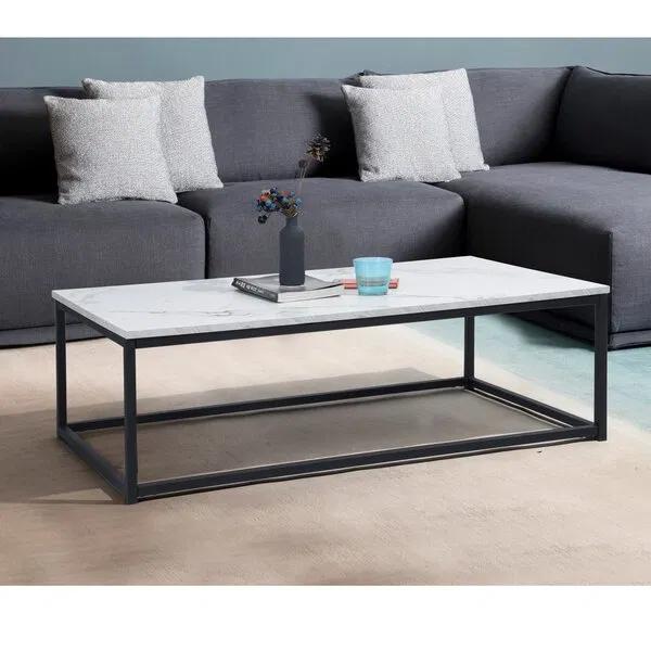 Table Basse Noir En Marbre Et Fer Forge En 2020 Table Basse Table Basse Noire Table Basse Acier