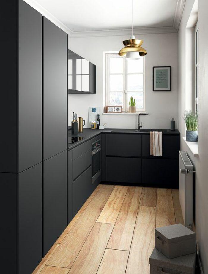1001 Idees Pour Cuisine Noire Des Conseils Comment L Amenager Selon Les Tendances Small Modern Kitchens Interior Design Kitchen Modern Kitchen Design
